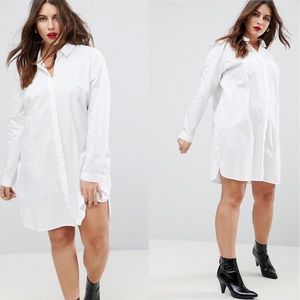 ASOS | White Cotton Mini Shirt Dress sz 16
